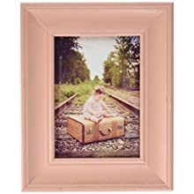 DII Z02252 Rustic Farmhouse Distressed Wooden Picture Frame for Wall Hanging or Desk Use, 5x7, Blush