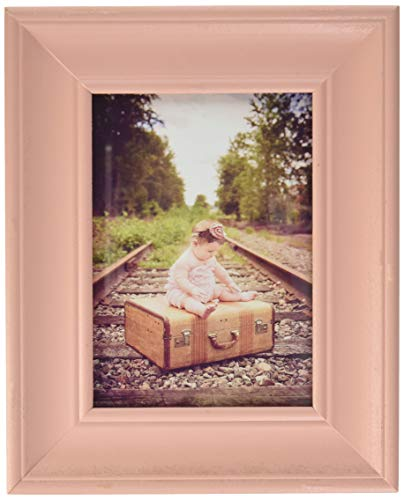 DII Z02252 Rustic Farmhouse Distressed Wooden Picture Frame for Wall Hanging or Desk Use, 5x7, - Frame Picture Pink 5x7