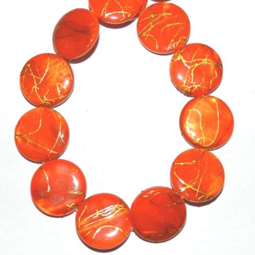 (MP2320 Orange Gold Drizzle Drawbench 20mm Round Mother of Pearl Shell Bead 15'' Crafting Key Chain Bracelet Necklace Jewelry Accessories Pendants)