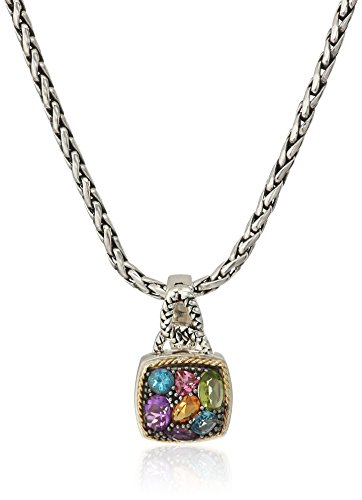 - Effy Womens 925 Sterling Silver/18K Yellow Gold Amethyst, Blue Topaz, Citrine, Pink Tourmaline, Peridot Pendant Necklace, Multi, 18