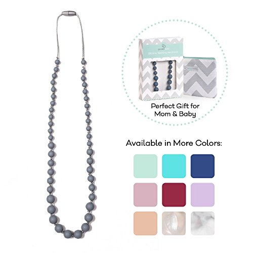 - Goobie Baby Audrey Silicone Teething Necklace for Mom to Wear, Safe BPA Free Beads to Chew - Grey