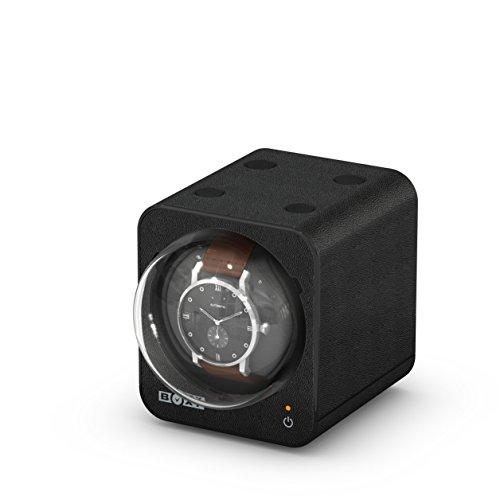 Single Winders Automatic Watch Winder - Boxy Leather Automatic Single Watch Winder (with Adapter) (Black)