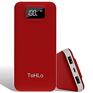 ToHLo 20000mAh Power Bank Lightning and Micro Input LED Digital Display Portable Charger - Red