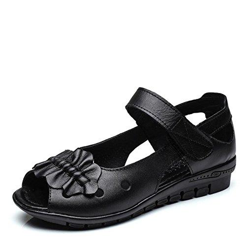 Zapatos De Mujer De Verano Suave De Fondo Plano Sandalias Mujer Negro