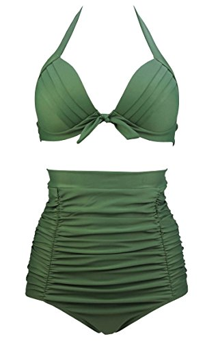 COCOSHIP Solid Juniper Green Retro Elegant High Waisted Bikini Vintage Swimsuits Halter Two Piece Suit S(FBA) (Retro Womens Swimsuit Bottoms)