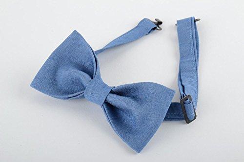 Stylish Handmade Bow Tie Sewn Of Light Denim Fabric Unisex