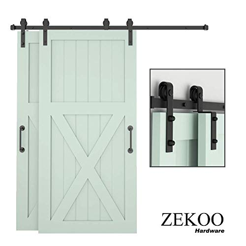 ZEKOO 6.6FT Bypass Sliding Barn Door Hardware Kit, Single Track, Double Wooden Doors Use, One-Piece Rail, Flat Track Roller, Low Ceiling
