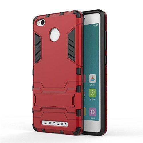 Redmi 3S Case,Find box [Slim] Dual Layer Hybrid Rugged Hard PC and TPU Soft Silicone Full Body Protective Case Shell kickstand Case Cover For Xiaomi Redmi 3S/Redmi 3 Pro 5.0'' (Red)