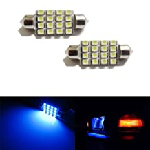 """iJDMTOY 16-SMD 1.60"""" 39mm 6418 C5W LED License Plate Light Bulbs, Ultra Blue"""