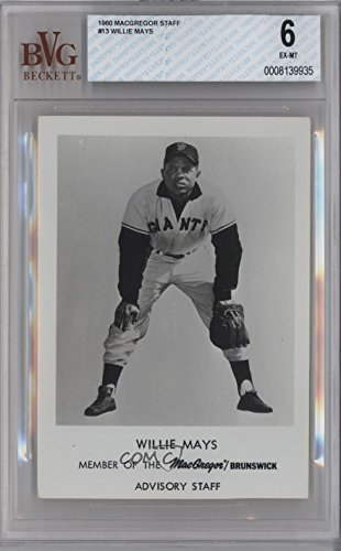 Willie Mays BVG GRADED 6 (Baseball Card) 1960 MacGregor Sporting Goods Premiums - [Base] #WIMA -