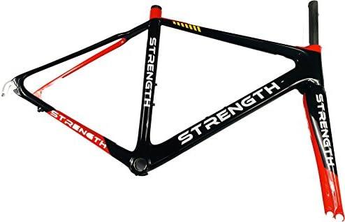 強度バイクフレームカーボンファイバーフレームロード自転車フレームセット 700C レッドとブラック