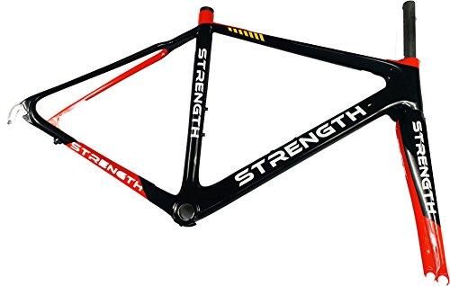 Strength Bike Frame Carbon Fiber Frame Road Bicycle Frameset 700C Red and Black