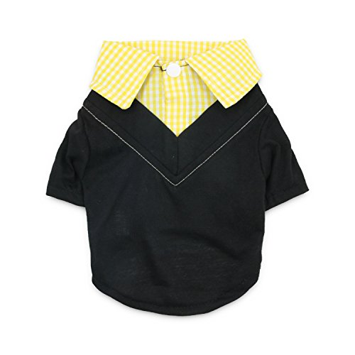 DroolingDog Small Dog Polo Shirt Pet Clothes Cat Costume for Small Dogs Boy, Medium, Yellow - Medium Dog Clothes Boy