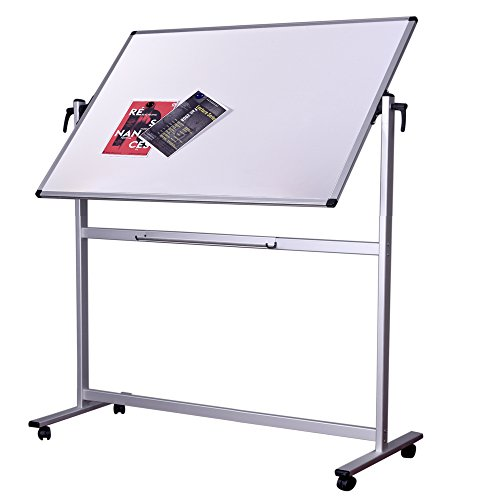 Dexboard Double Sided Aluminum Magnetic Mobile Dry Erase Board 60 x 40 Inch, Large Reversible Presentation Rolling Whiteboard on Wheels for Home, Office, Classroom
