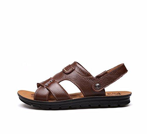 estate Uomini sandali vera pelle Taglia larga Spiaggia scarpa Uomini Tempo libero pelle sandali tendenza ,Marrone ,US=10,UK=9.5,EU=44,CN=46
