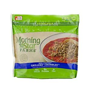 MorningStar Farms Meal Starters Grillers Crumbles, 12 Ounce -- 6 per case.