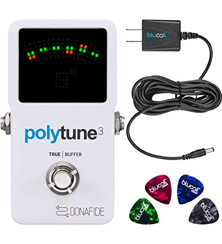 TC Electronic Polytune 3 Polyphonic Guitar Tuner Pedal Bundle with Blucoil 9V Replacement Power Supply and 4-Pack of Guitar Picks