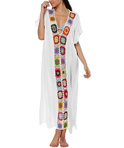 BEEY Womens Embroidery Patchwork Crochet Chiffon Swimwear Beach Dress (White (Braided Trim V-neck Top)