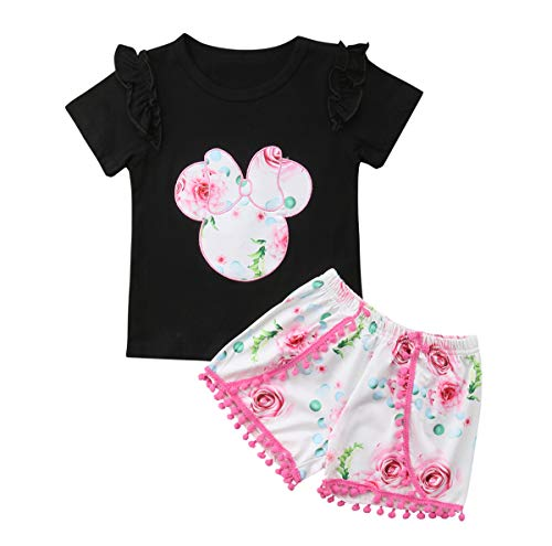 Baby Girls Ruffle Easter Cute Bunny T-Shirt and Pink Floral Shorts Outfit Set (Black, 12-18 Months) ()