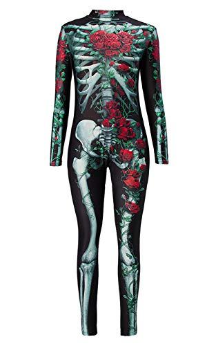 Idgreatim Women Halloween Cosplay Costume 3D Print Long Sleeve Skinny Skeleton Catsuit Jumpsuit Bodysuit