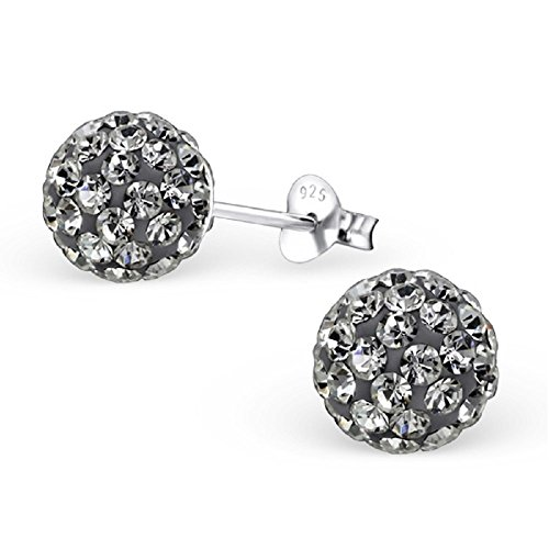 .925 Sterling Silver Christmas 8mm Disco Ball Stud Earrings w/ Crystal Pick Your Color (Grey) - Sterling Silver Pave Crystal