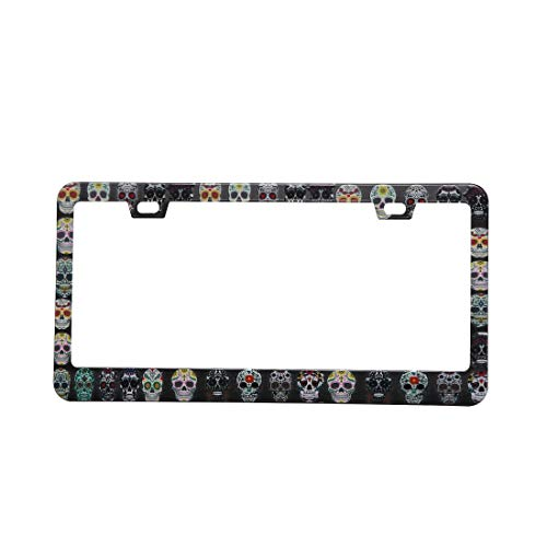 BINGOLIN Black License Plate Frames Sugar Skull Stainless Steel Car Licence Plate Covers with Chrome Screw Caps for US Standard for cheap