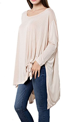 Wishlist Womens High Low Hem Over sized Knot detail Longsleeve Top-taupe-medium/large