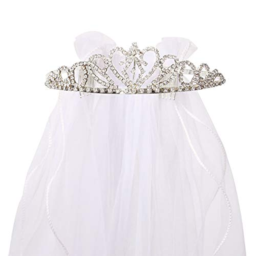 (Flower Girls White First Communion Veil Headband with Bow (One size, White (Rhinestone)