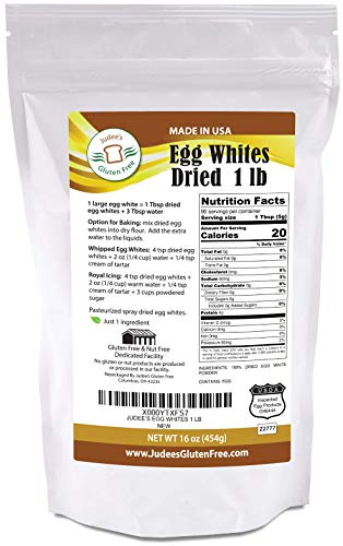 Powdered Whites Egg - Judee's 1 lb (16oz) Dried Egg Whites (Non-GMO, Pasteurized, USA Made, 1 Ingredient, USDA Certified, Freshest of Eggs)(50 lb Bulk Size Available)