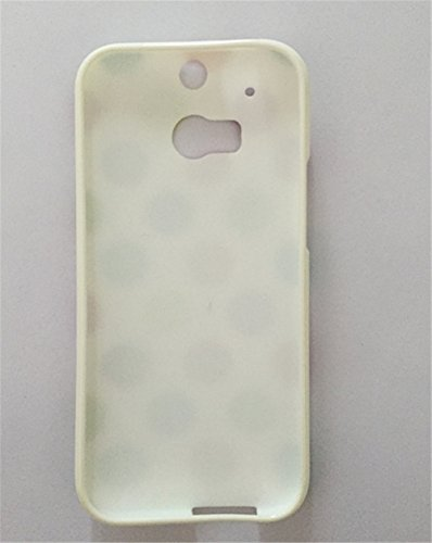 TPU Case for HTC One M8, Cute Case for HTC One M8, Turpro™ Slim Fit Polka Dot Soft Silicone Flexible TPU Back Cover Skin Case for HTC One M8 (White+Rainbow)