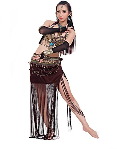 2019 Halloween Women's Tribal Belly Dance Coins Bra & Hip Scarf/Set(34/75C;Brown) -