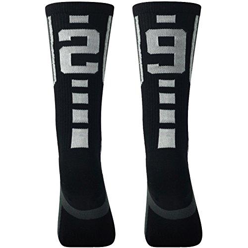 Custom Uniform Football Pant (Comifun Unisex Children Knee Length Sports Socks For Boys Girls Soccer Black/White 13-17 Age,1 Pair,