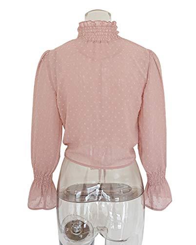 Shirts Tops Rosa A Bluse Corto Autunno Maglietta Donne Primavera Moda Floreali Bende Con Casual Camicie Cime Maniche Campana 6qBFfZw