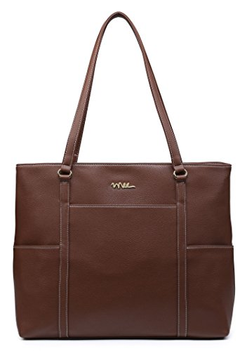 - NNEE Classic Laptop Leather Tote Bag for 15 15.6 inch Notebook Computers Travel Carrying Bag with Smart Trolley Strap Design - Dark Brown