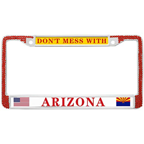 - GND Don't Mess with Arizona State Diamond Red License Plate Frame,Home State Pride Metal Chrome License Plate Frame Home State Pride Crystal Diamond Bling Red License Plate Frame