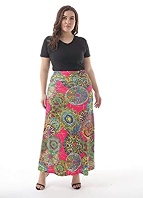 ZERDOCEAN Women's Plus Size High Waisted Bohemian Printed Long Skirt