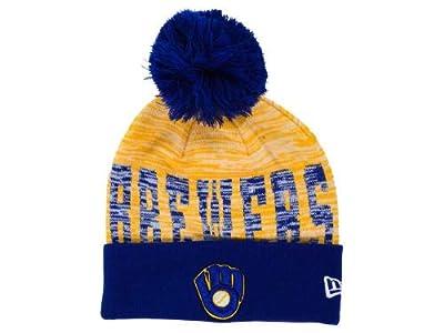 New Era Milwaukee Brewers Knit Cuff Beanie w/ Pom Hat One Size Fits All Wordmark Hat Cap OSFA - Royal Blue & Gold