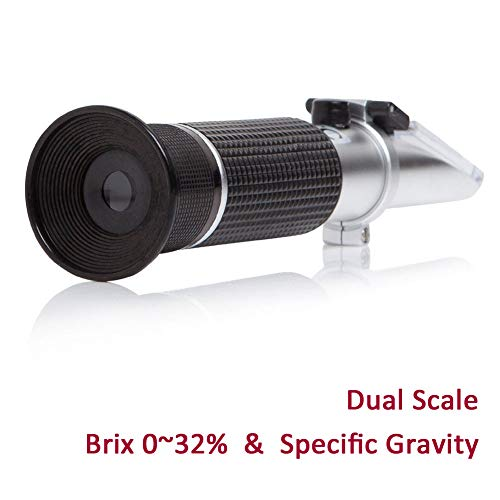 Brix Refractometer with ATC, Dual Scale - Specific Gravity & Brix, Hydrometer in Wine Making and Beer Brewing, Homebrew Kit - Pear Brandy Bottle