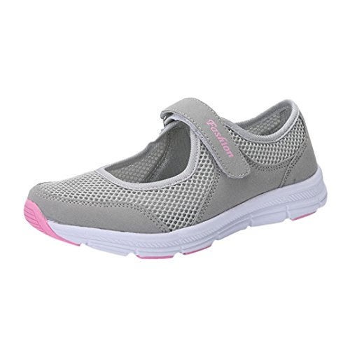 - Womens Anti Slip Running Shoes,Summer Lightweight Mesh Sports Athletic Sneakers (Gray, US:5)