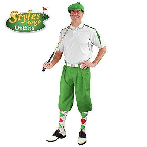 メンズゴルフOutfit – ライム、ホワイト、&レッドゴルフKnicker Complete Outfit