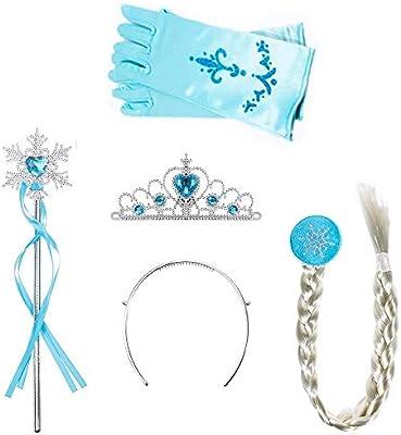 AMACOAM 4 Piezas Disfraz Elsa Frozen Accesorios Conjunto ...
