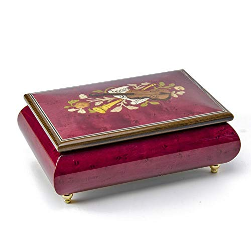 Astonishing Handcrafted 30 Note Red Wine Musical Instrument Theme Wood Inlay Music Box - Many Songs Available - Dance with My Father - Wine Inlay Red Instrument Musical