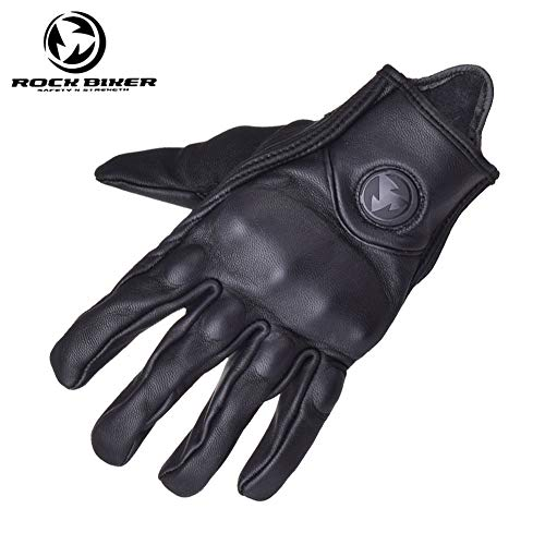 Gloves - Classic Retro Motorcycle Gloves Leather Men Chopper Harley Moto Motorbike Cafe Vintage Full Finger Glove - by VIVIAN