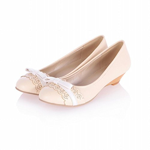 Charm Foot Womens Fashion Low Heel Pumps Shoes Flats Shoes Beige aTSws0