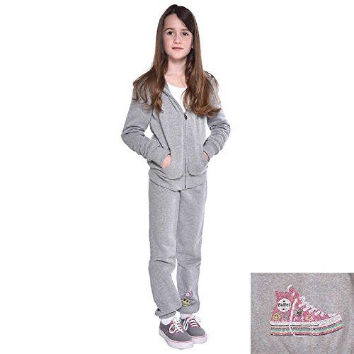 Butter Girls' Jacket/Pants Track Set Super Soft Fleece 2-Piece (Gray, X-Small 3/4)