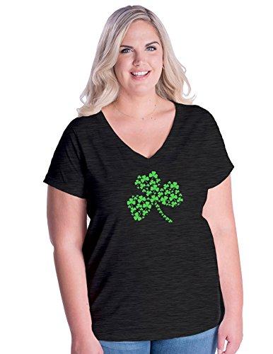 Womens Plus Size St. Patrick's Day Shamrocks V-Neck Shirt 2X Dark ()