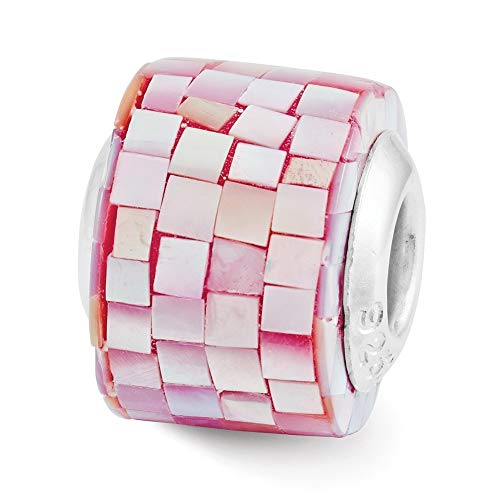 - Lex & Lu Sterling Silver Reflections Red Mother of Pearl Mosaic Bead