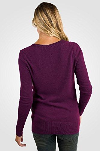JENNIE LIU Women's 100% Pure Cashmere Long Sleeve Ava V Neck Sweater (M, Plum) by JENNIE LIU (Image #2)