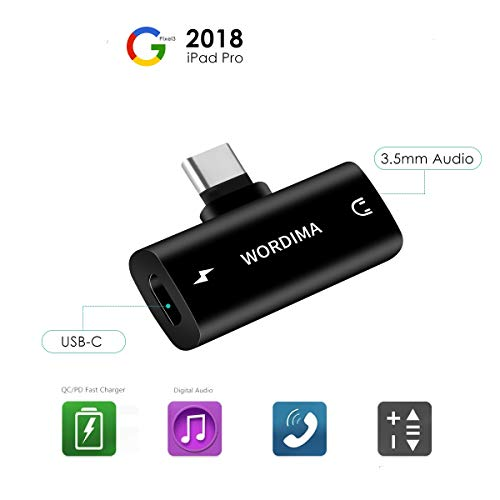 WORDIMA USB-C to 3.5 mm Headphone Charger Adapter 2in1 Digital and Fast Charger QC/PD Adapter with DAC Hi-Res Compatible with Google Pixel 2/2XL/3/3XL, iPad Pro 2018, Aux to USB C (Black)