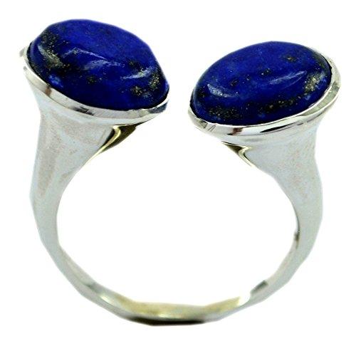 (55Carat Genuine Lapis Lazuli Sterling Silver Ring for Women Round Shape Bezel Style Size 5,6,7,8,9,10,11,12)